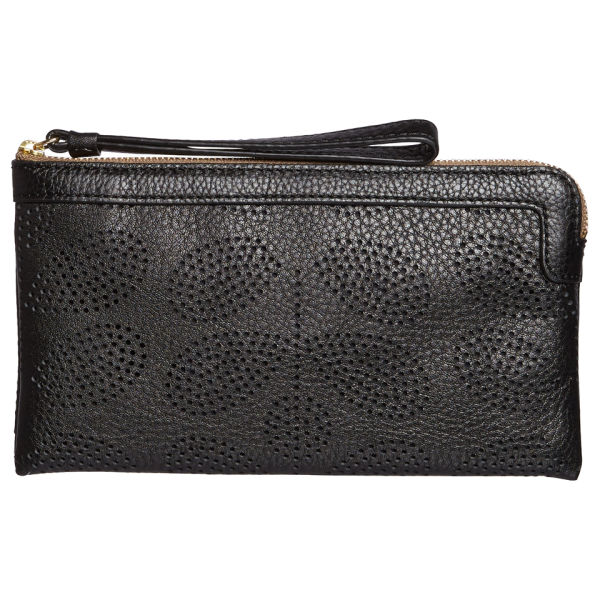 Orla Kiely Women's Sixties Stem Punched Leather Flat Zip Purse - Black
