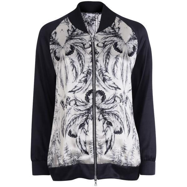Draw In Light Women's Acid Butterfly Silk Bomber Jacket - Bleach On Black
