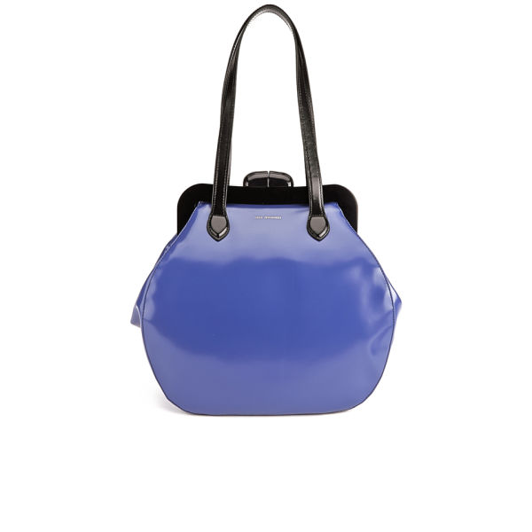 Lulu Guinness Large Pollyanna Leather Bowler Bag - Dark Blue  Image 1 d2086b3ff4f59
