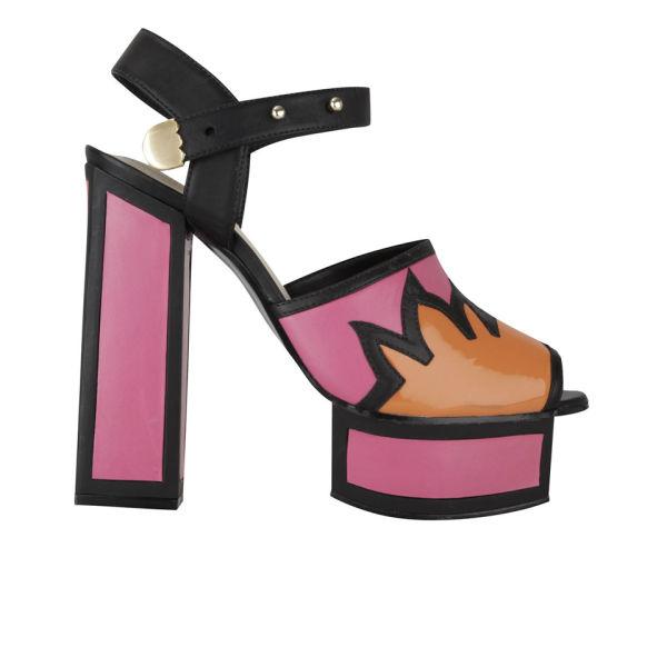 Kat Maconie Women's Liza Patent Leather Flame Heels - Magenta/Orange/Black