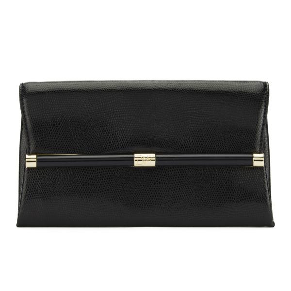 Diane von Furstenberg Women's Envelope Embossed Lizard Leather Clutch - Black