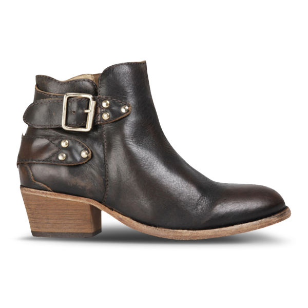 H Shoes by Hudson Women's Bora Leather Heeled Ankle Boots - Brown