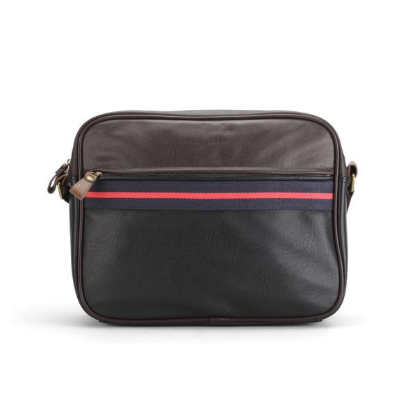 Ted Baker Men's Coubert Stripe PU Messenger Bag - Chocolate