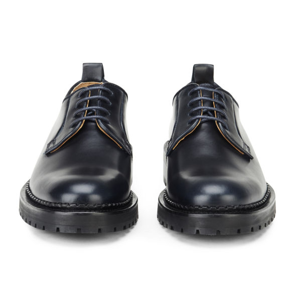 Carven Men S Lace Up Leather Derby Shoes Navy Free Uk