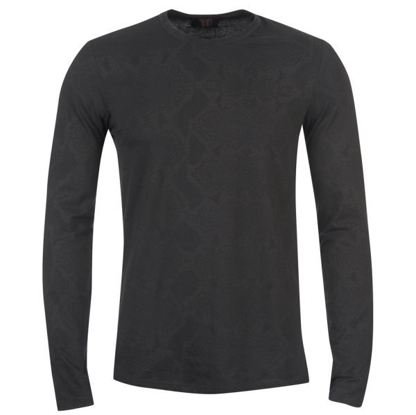 Roberto cavalli men 39 s long sleeve fitted t shirt black for Black fitted long sleeve t shirts