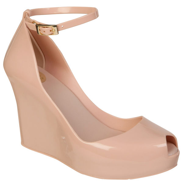 Melissa Women's Patchuli Peep Toe Wedges - Nude