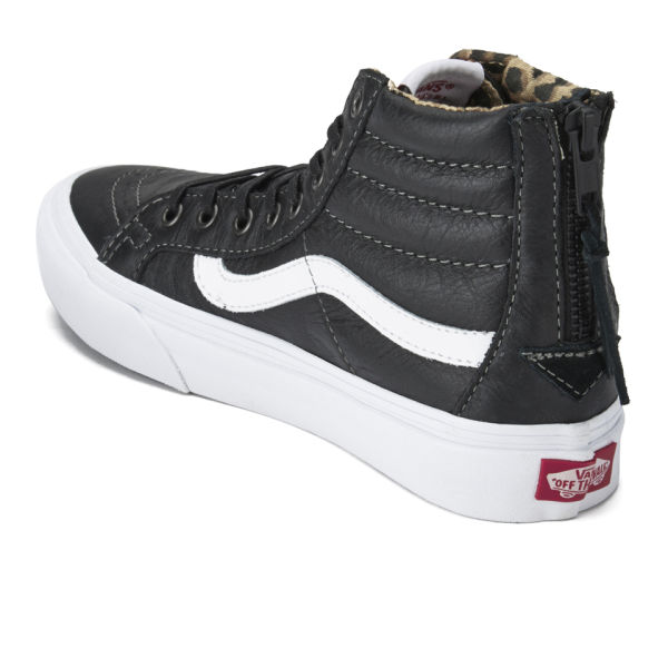 Vans Women s SK8-Hi Slim Zip Leather Hi-Top Trainers - Black Leopard ... 33efeba4a
