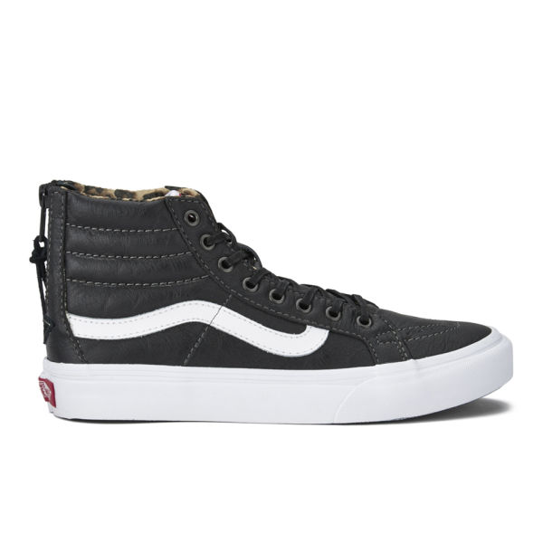 cb18ab355d Vans Women s SK8-Hi Slim Zip Leather Hi-Top Trainers - Black Leopard ...