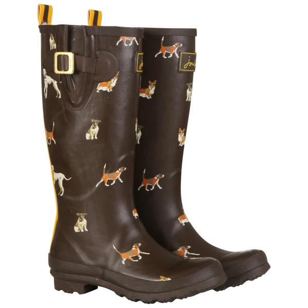 Joules Womens Brown Dog Wellies - Brown