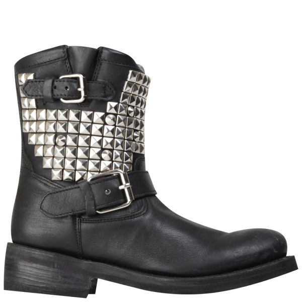 Ash Women's Titan Studded Leather Boots - Black/Silver