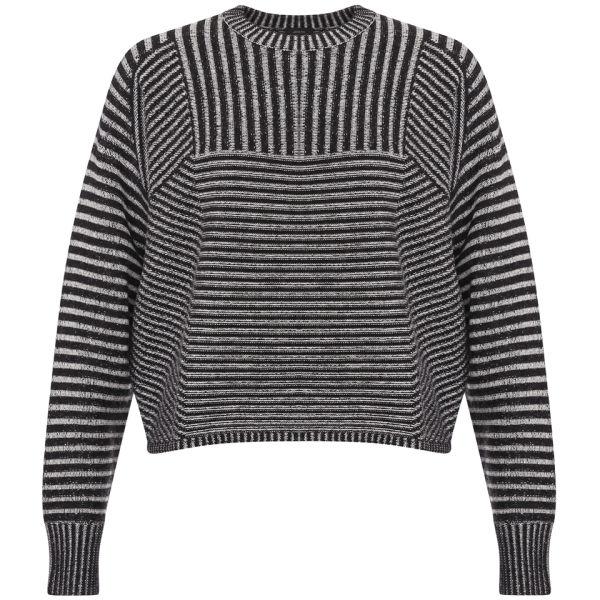 Joseph Women's Crew Neck Plated Rib Sweater - Black/White
