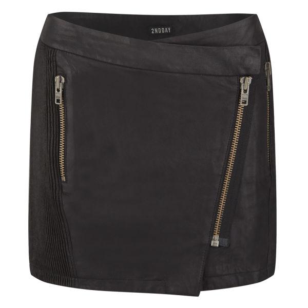 2NDDAY Women's Zip Leather Skirt - Black