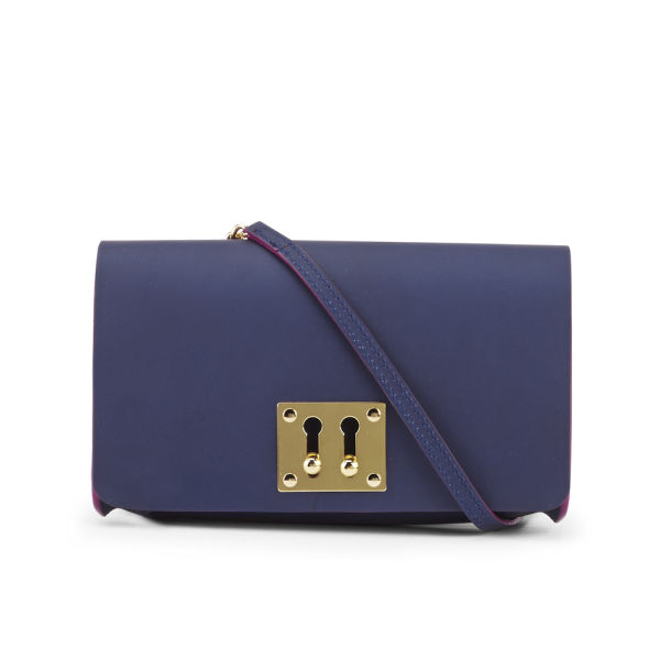 Sophie Hulme Women's Twin Keyhole Leather Clutch Bag - Navy