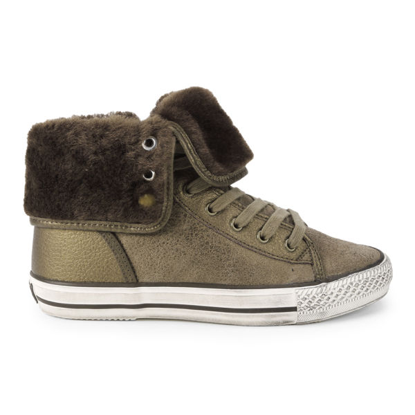 Ash Women's Vanna Hi-Top Leather and Shearling Trainers - Bronze
