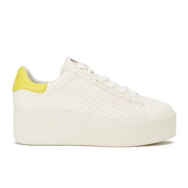 30cd93db3cf8 Ash Women s Cult Leather Flatform Trainers - White Yellow Womens ...