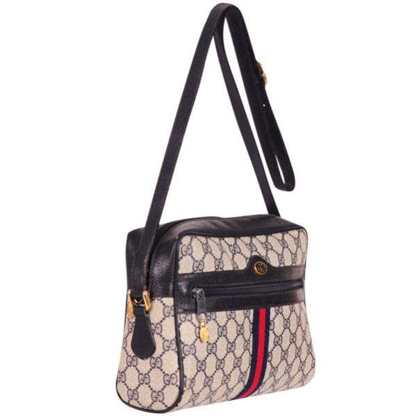 8a7a0a717933 Gucci Vintage Leather Trim Monogram Canvas Shoulder/Cross Body Bag: Image 2