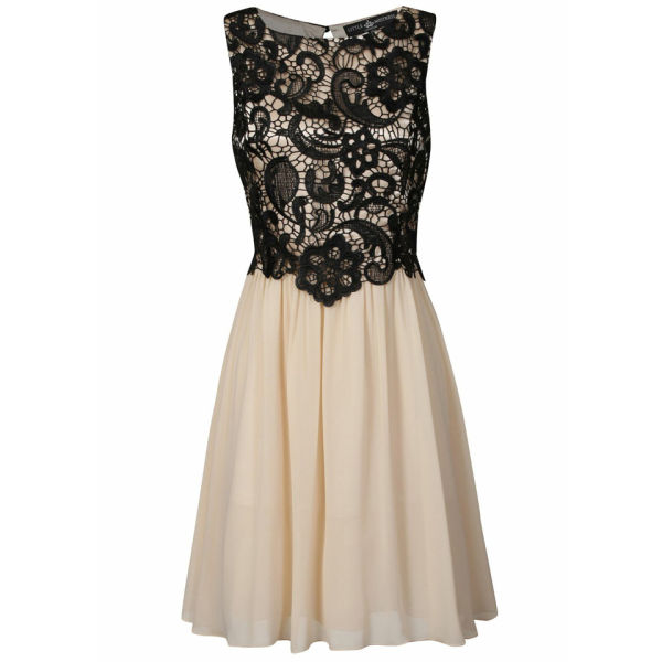 Little Mistress Women's Lace Overlay Prom Dress - Black/Cream