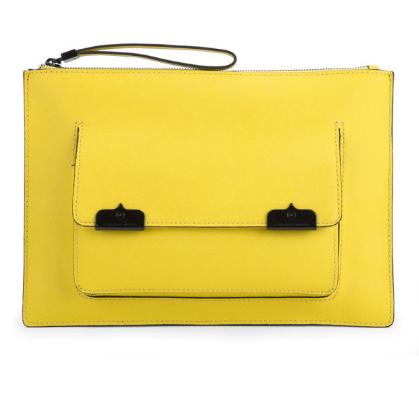 McQ Alexander McQueen Pocket Case Leather Clutch Bag - Citrus