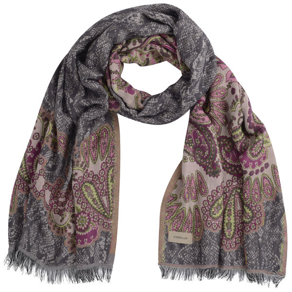 Codello Women's Winter Wonderland Paisley with Snake Jacquard Scarf - Dark Pink/Grey