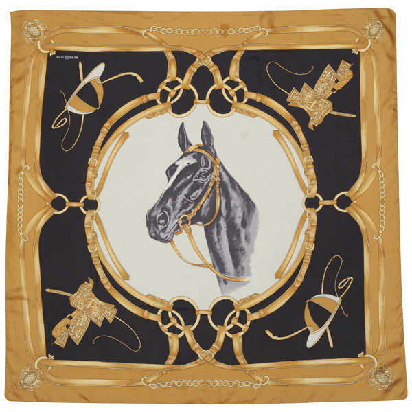 Hermes Vintage Horse Motif Equestrian Print Silk Scarf