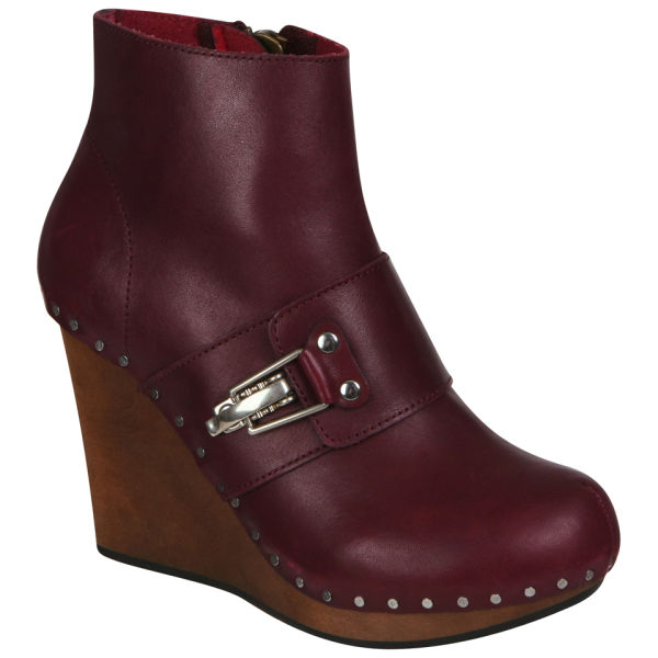 See By Chloé Women's Wedged Leather Ankle Boots - Purple