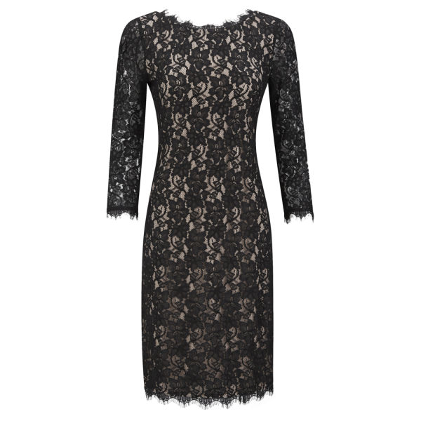 Diane von Furstenberg Women's Colleen Fitted Back Zip Lace Dress - Black