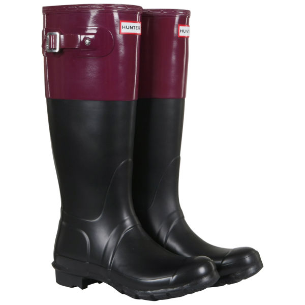 Hunter Women's Original Colour Block Wellies - Black/Dark Ruby