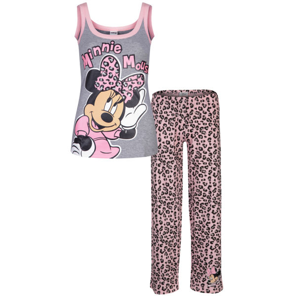 Minnie Mouse Women\'s Leopard Pyjama Set - Grey & Pink Clothing ...