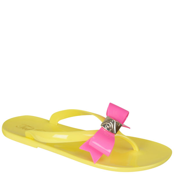 Ted Baker Women's Polee Bow Detail Flip Flops - Yellow/Pink