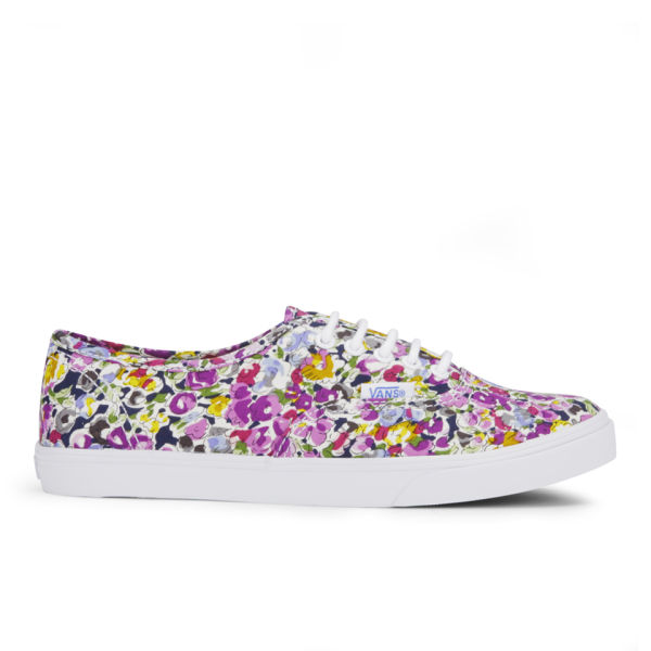Vans Women's Authentic Lo Pro Floral Trainers - Violet/True White