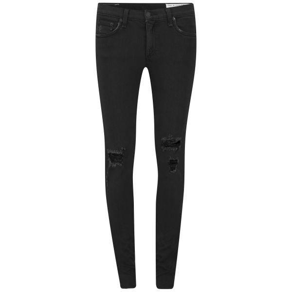 rag & bone Women's The Skinny Mid Rise Jeans with Holes - Soft Rock