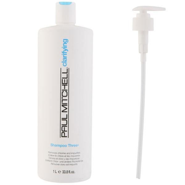 Paul Mitchell Shampoo Three (1000ml) with Pump (Bundle)