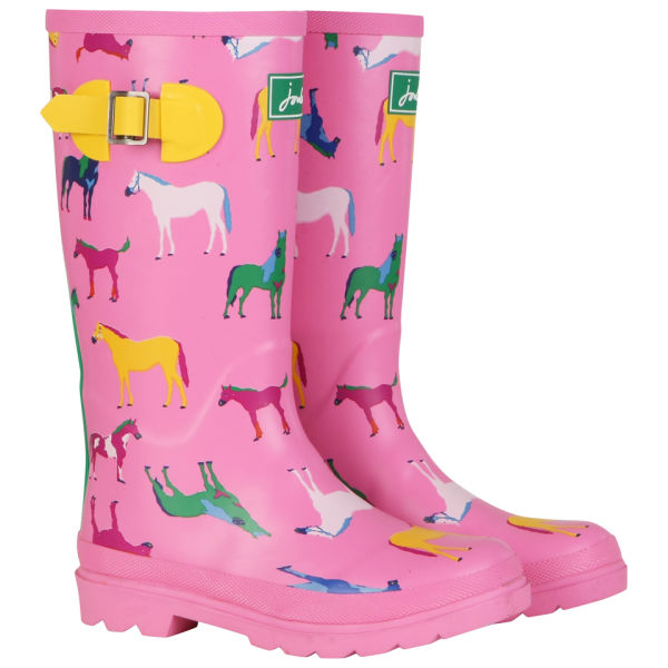 Joules Junior Girls Wellies - Pink Horse