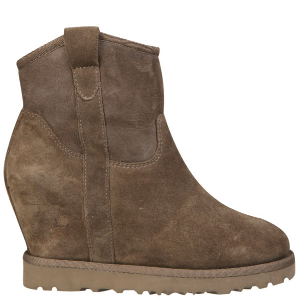 Ash Women's Yahoo Bis Suede Wedged Ankle Boots - Stone