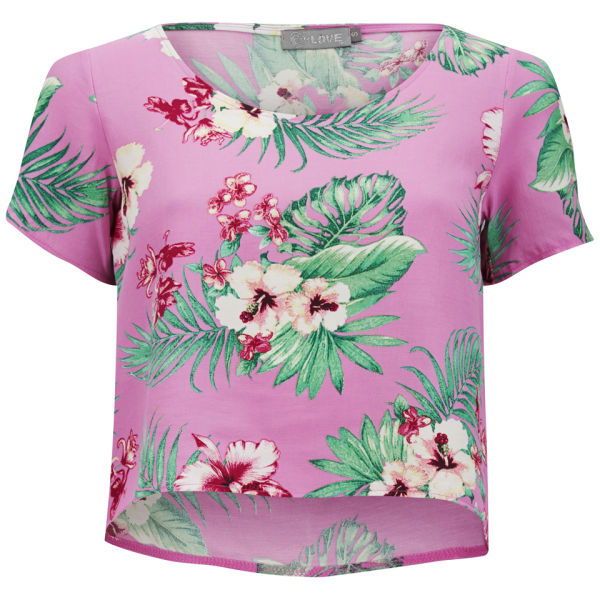 Haut Crop Top LOVE floral -Rose