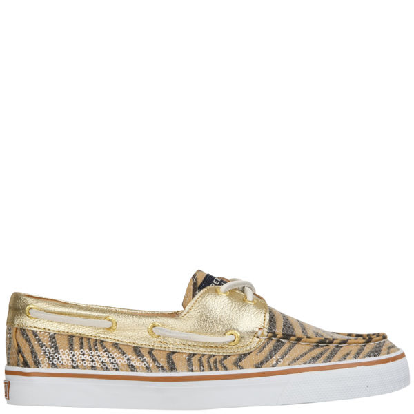 Sperry Women's Bahama 2-Eye Print  Shoe - Cognac Zebra Sequins