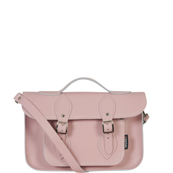 85003726d975 Zatchels 11.5 Inch Pastel Leather Satchel with Handle - Baby Pink  Image 1