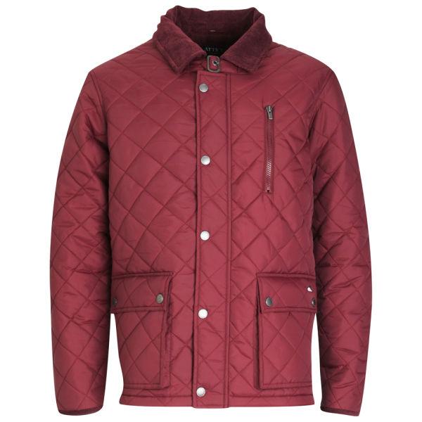 Atticus Mens Quilted Jacket Burgundy Clothing Zavvi