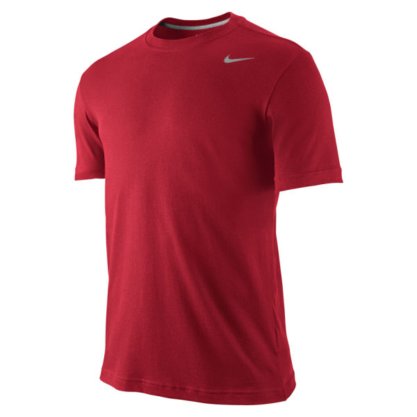 Nike men 39 s dri fit short sleeve t shirt gym red clothing for Dri fit dress shirts