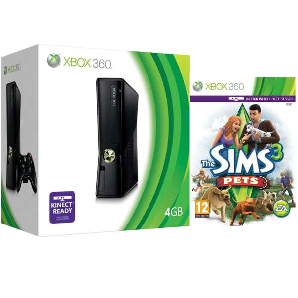 Xbox 360 4gb Arcade Bundle Includes The Sims 3 Pets