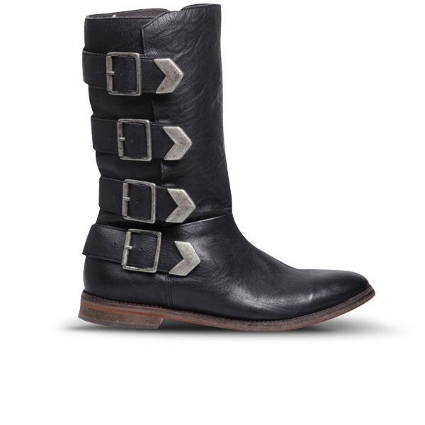 Hudson London Women's Lock Buckle Calf Leather Knee High Boots - Black