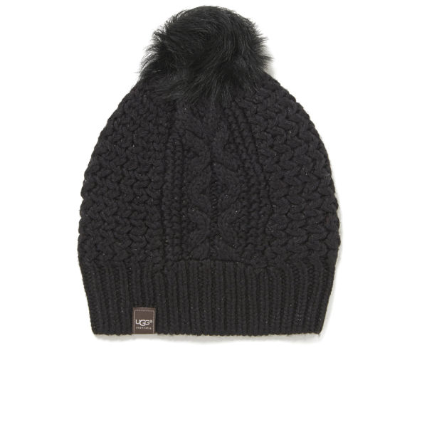 UGG Cable Knit Nyla Beanie with Fur Pom - Black/Multi