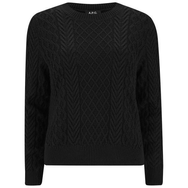 A.P.C. Women's Silk Cotton Mix Cable Knit Jumper - Noir
