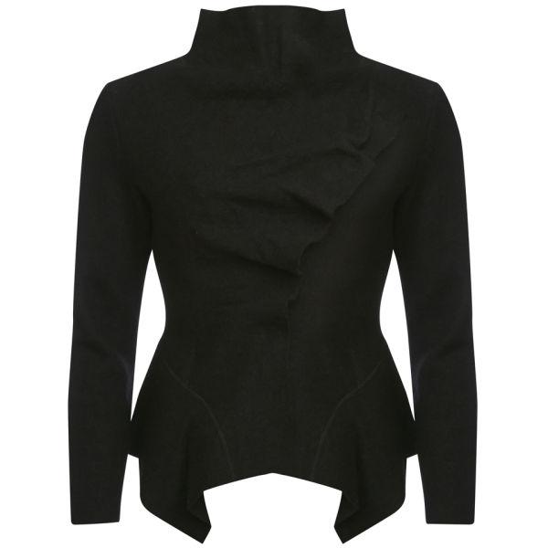 GROA Women's Boiled Wool Winter Jacket - Black