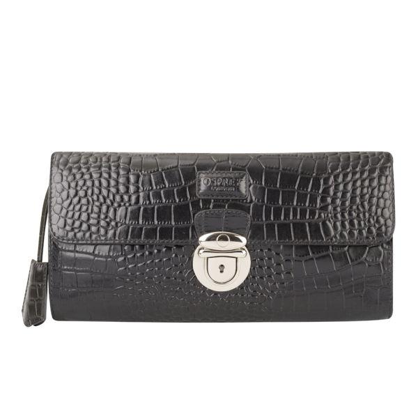 OSPREY LONDON Lamaar Croc Leather Long Clutch Bag - Black