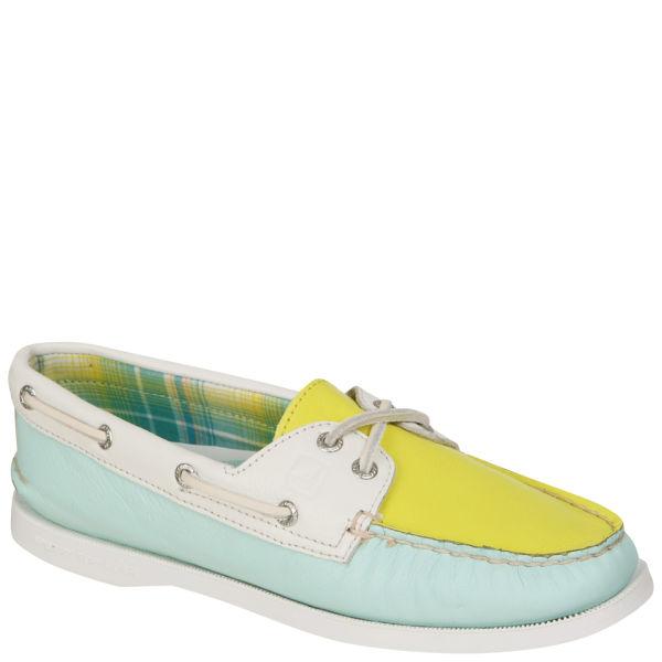 Sperry Women's AO 2-Eye Shoe - Aqua/Yellow/White