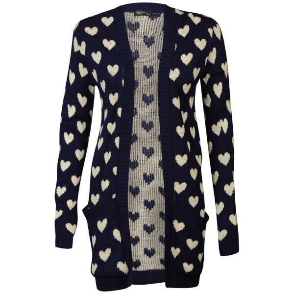 Club L Women's Heart Knitted Cardigan - Navy