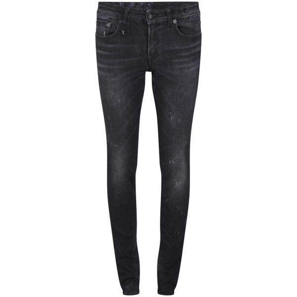 R13 Women's Low Rise Skinny Jeans - Black Marble