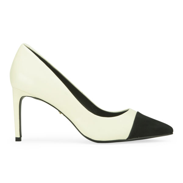 KG Kurt Geiger Women's Bebe Leather Contrast Point Toe Court Shoes - White/Black