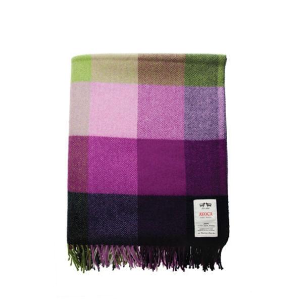 Avoca Lambswool Pioneer Throw (142 x 100cm) - Purple/Green/Blue